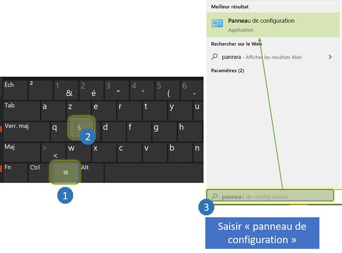 Ce tutoriel montre comment ouvrir le panneau de configuration à l'aide de la touche Windows et de la touche s